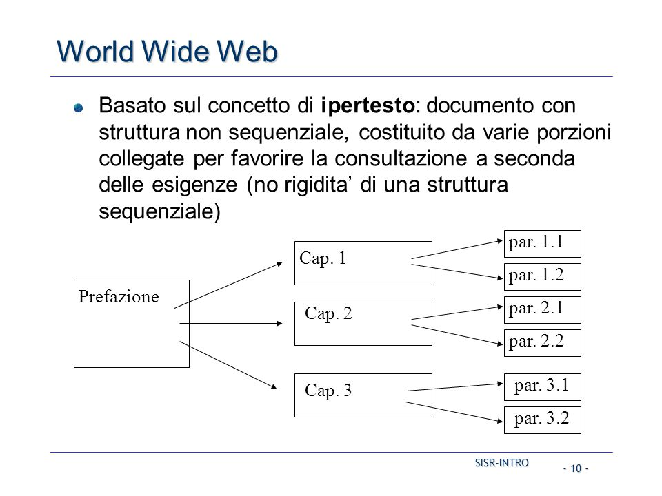 SISR-INTRO - 10 - World Wide Web Basato sul concetto di ipertesto: documento con struttura non sequenziale, costituito da varie porzioni collegate per