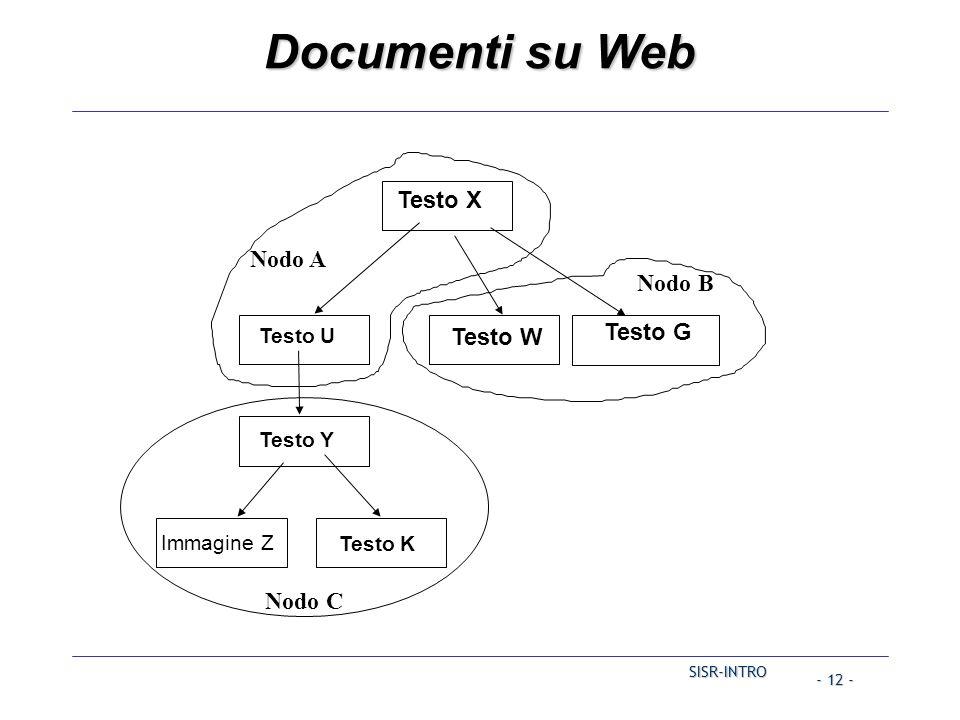 SISR-INTRO - 12 - Documenti su Web Testo G Testo X Testo W Nodo A Nodo C Nodo B Testo Y Immagine Z Testo K Testo U