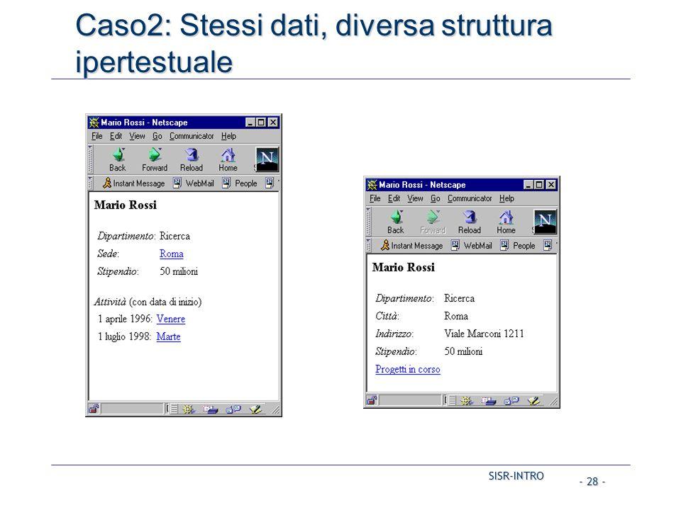 SISR-INTRO - 28 - Caso2: Stessi dati, diversa struttura ipertestuale