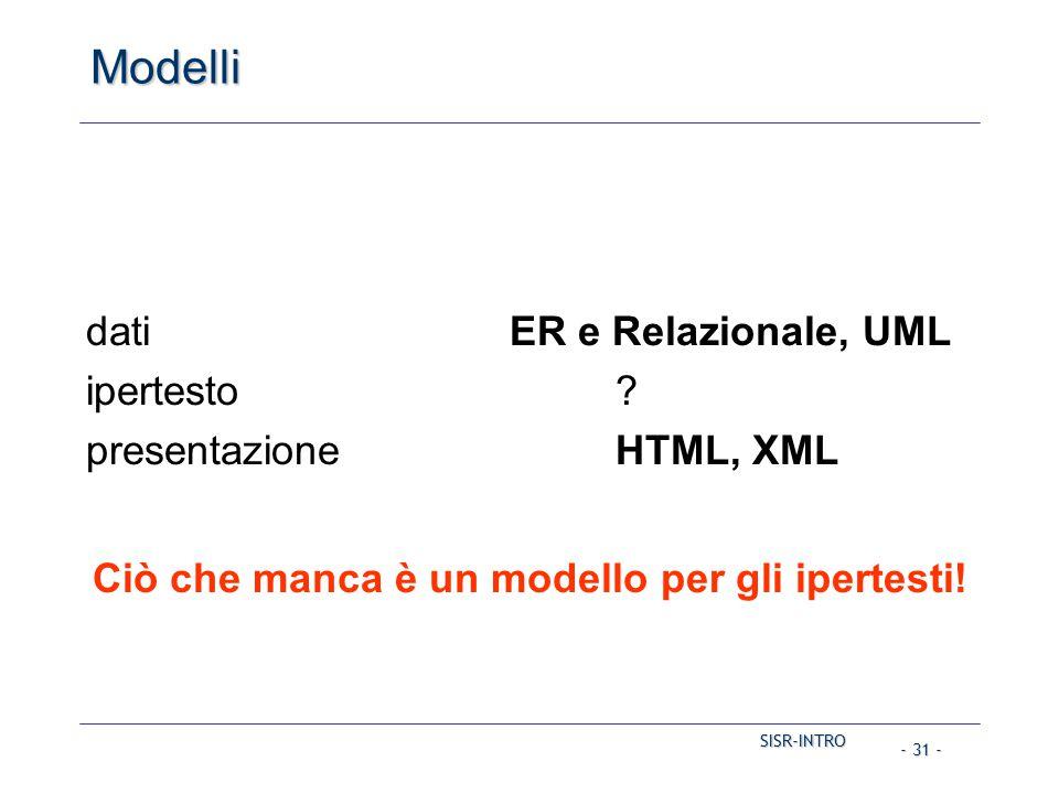 SISR-INTRO - 31 - Modelli datiER e Relazionale, UML ipertesto? presentazioneHTML, XML Ciò che manca è un modello per gli ipertesti!