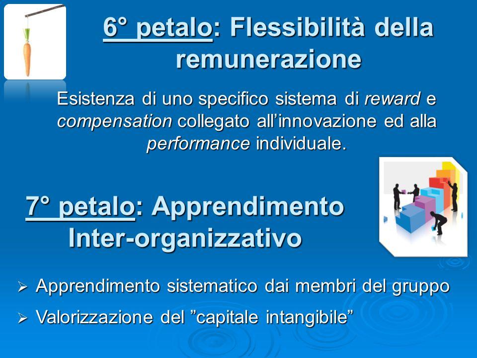 6° petalo: Flessibilità della remunerazione Esistenza di uno specifico sistema di reward e compensation collegato all'innovazione ed alla performance individuale.