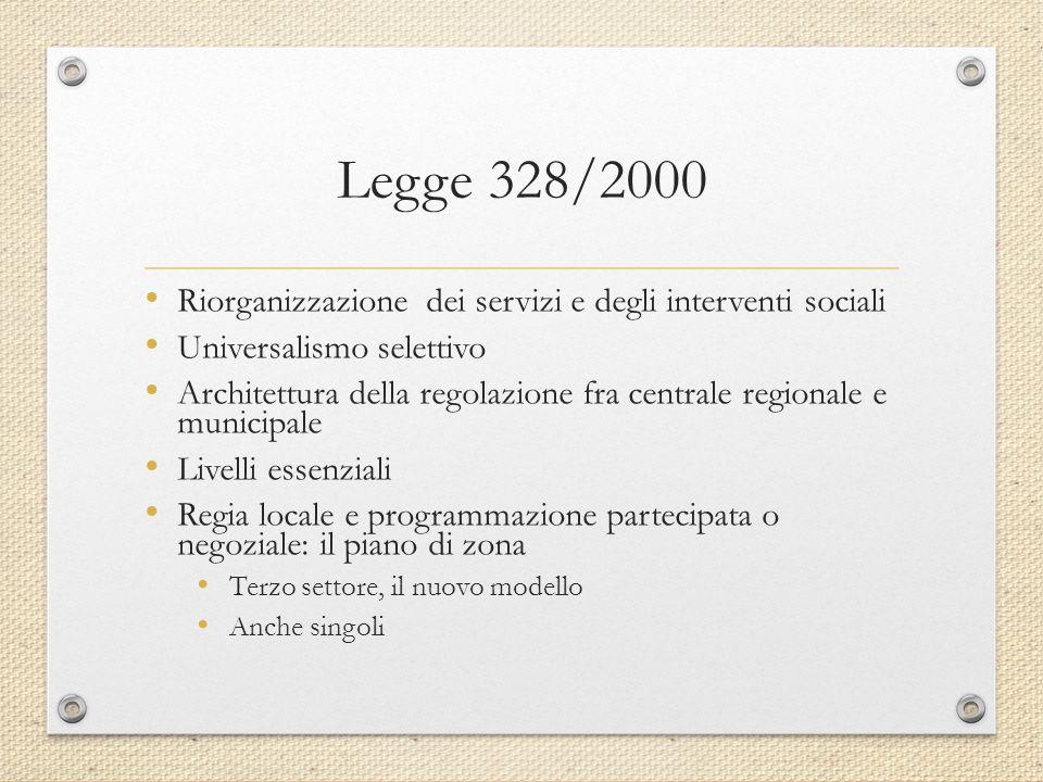 Legge 328/2000 Riorganizzazione dei servizi e degli interventi sociali Universalismo selettivo Architettura della regolazione fra centrale regionale e