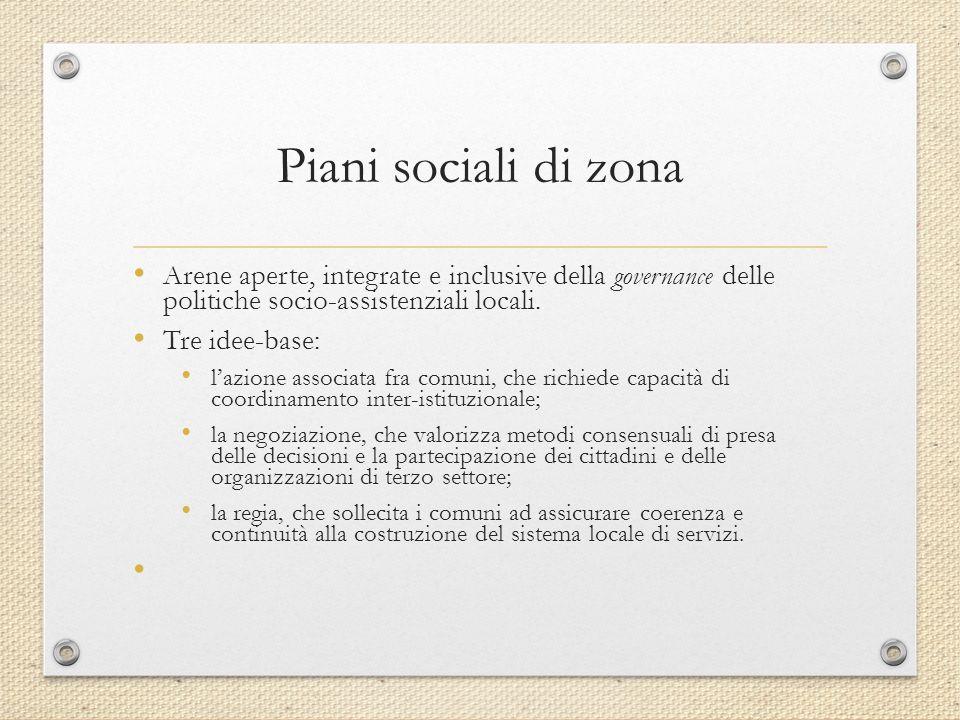 Piani sociali di zona Arene aperte, integrate e inclusive della governance delle politiche socio-assistenziali locali. Tre idee-base: l'azione associa