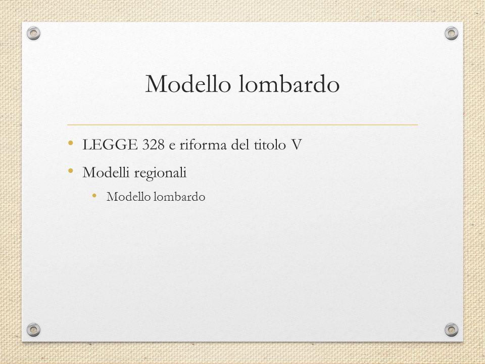Modello lombardo LEGGE 328 e riforma del titolo V Modelli regionali Modello lombardo