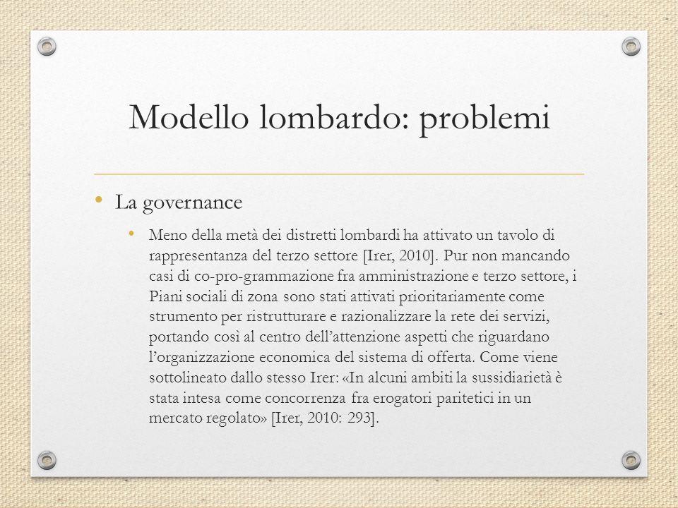 Modello lombardo: problemi La governance Meno della metà dei distretti lombardi ha attivato un tavolo di rappresentanza del terzo settore [Irer, 2010].