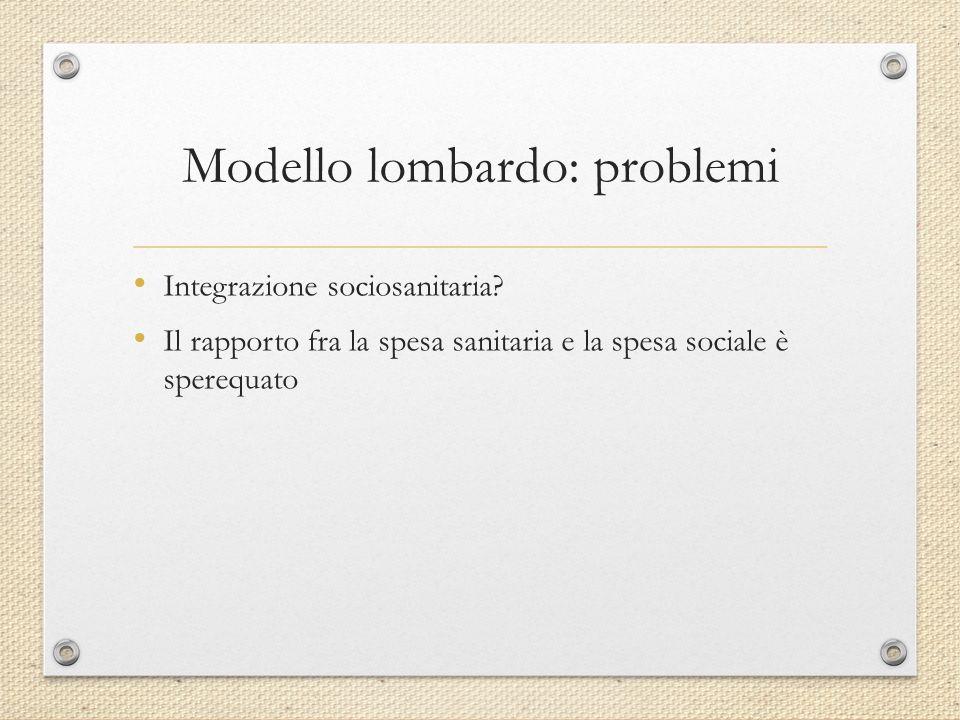 Modello lombardo: problemi Integrazione sociosanitaria? Il rapporto fra la spesa sanitaria e la spesa sociale è sperequato