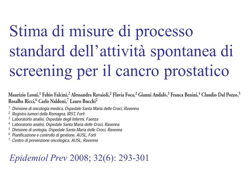 Epidemiol Prev 2008; 32(6): 293-301 Stima di misure di processo standard dell'attività spontanea di screening per il cancro prostatico