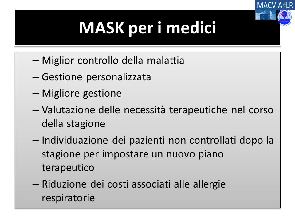 MASK per i medici – Miglior controllo della malattia – Gestione personalizzata – Migliore gestione – Valutazione delle necessità terapeutiche nel cors