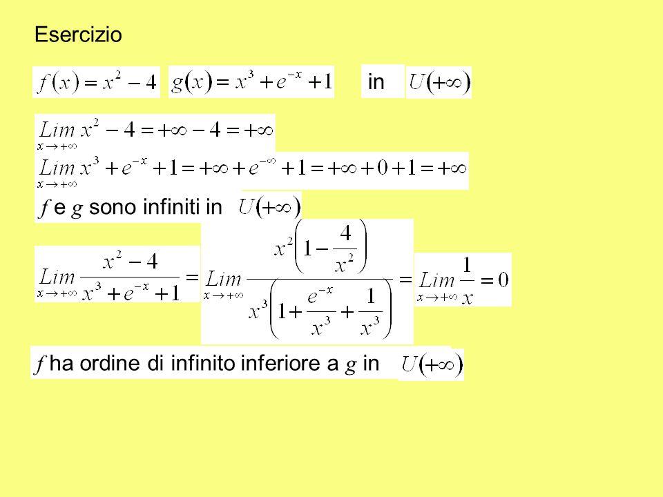 in f e g sono infiniti in f ha ordine di infinito inferiore a g in Esercizio