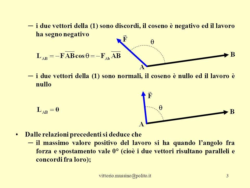 vittorio.mussino@polito.it3 ─i due vettori della (1) sono discordi, il coseno è negativo ed il lavoro ha segno negativo ─i due vettori della (1) sono