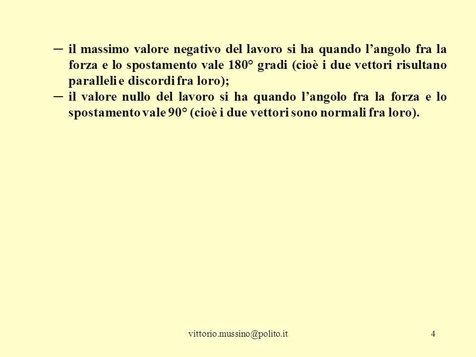 vittorio.mussino@polito.it4 ─il massimo valore negativo del lavoro si ha quando l'angolo fra la forza e lo spostamento vale 180° gradi (cioè i due vet