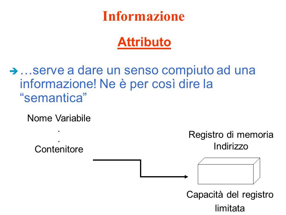 """Informazione è …serve a dare un senso compiuto ad una informazione! Ne è per così dire la """"semantica"""" Attributo Nome Variabile. Contenitore Registro d"""