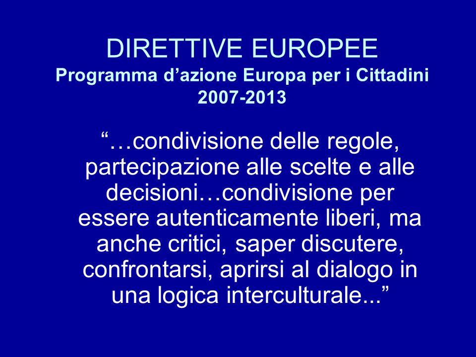 DIRETTIVE EUROPEE Programma d'azione Europa per i Cittadini 2007-2013 …condivisione delle regole, partecipazione alle scelte e alle decisioni…condivisione per essere autenticamente liberi, ma anche critici, saper discutere, confrontarsi, aprirsi al dialogo in una logica interculturale...