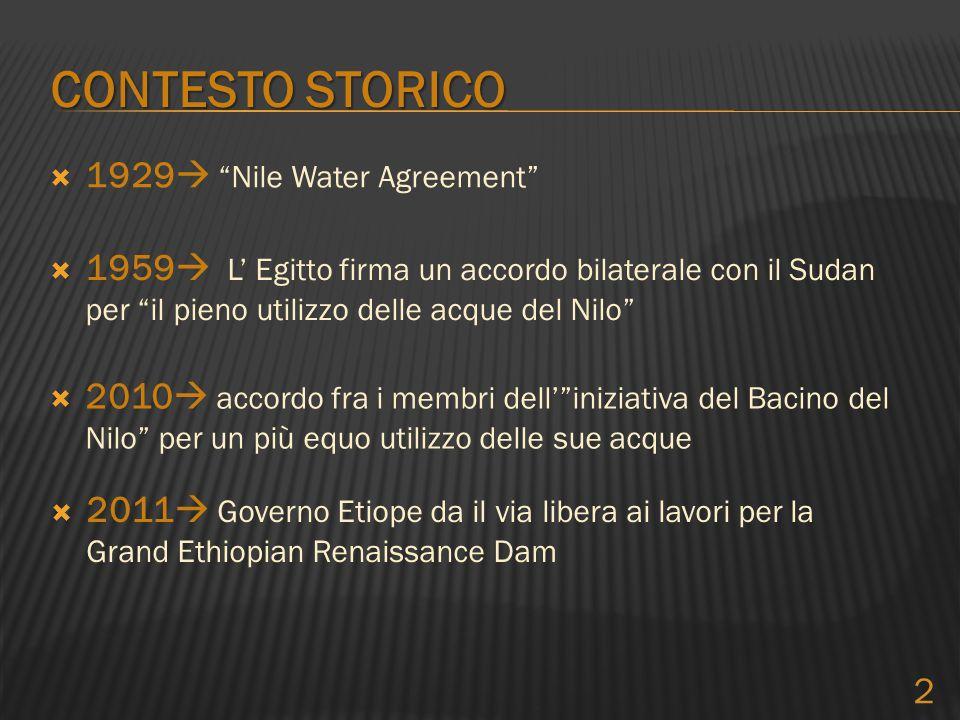 """ 1929  """"Nile Water Agreement"""" CONTESTO STORICO  1959  L' Egitto firma un accordo bilaterale con il Sudan per """"il pieno utilizzo delle acque del Ni"""