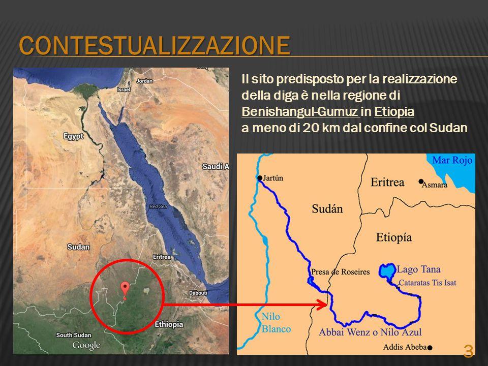 Il sito predisposto per la realizzazione della diga è nella regione di Benishangul-Gumuz in Etiopia a meno di 20 km dal confine col Sudan CONTESTUALIZ