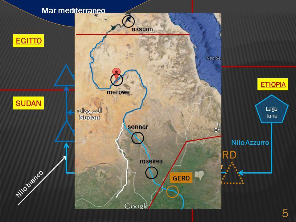 GERD SUDAN ETIOPIA EGITTO Nilo bianco Nilo Azzurro Mar mediterraneo Lago Tana RoseiresSennar Merowe Nasser 5 GERD roseires sennar merowe assuan