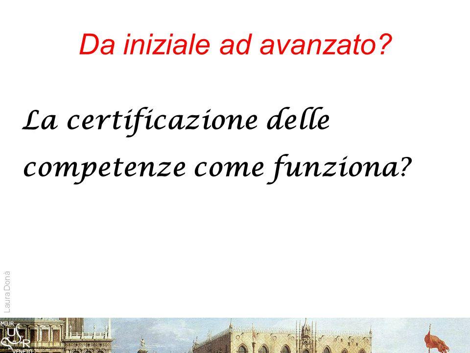 Da iniziale ad avanzato La certificazione delle competenze come funziona Laura Donà