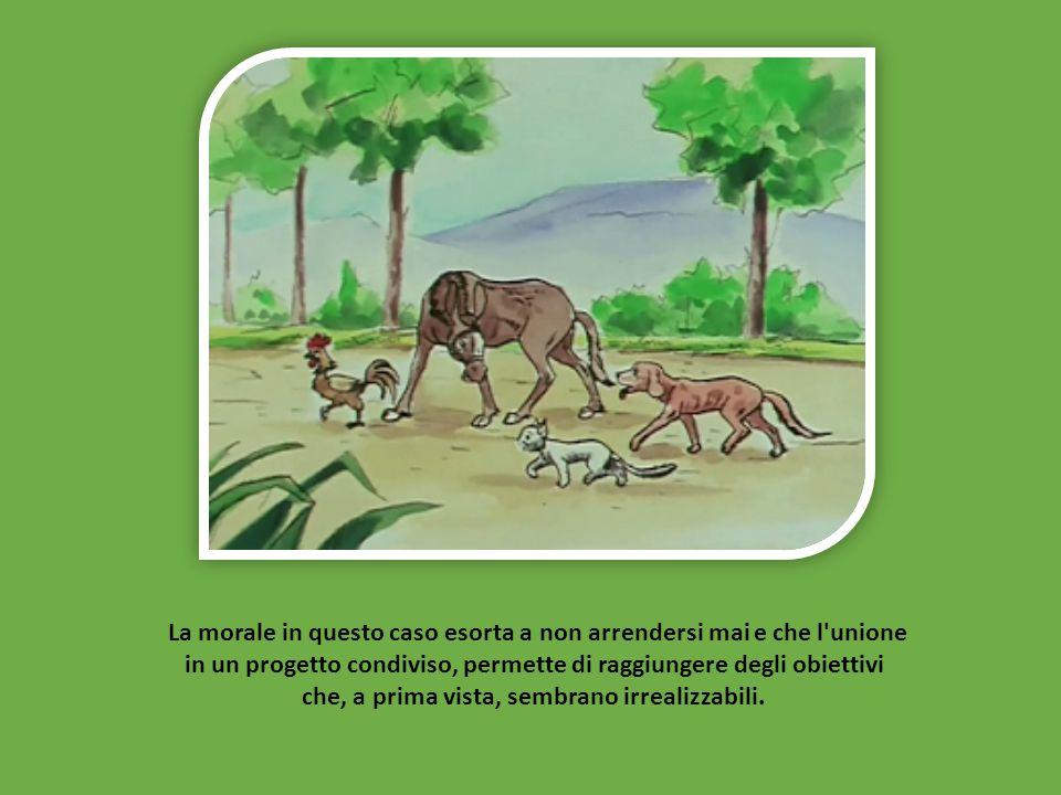 Alla fine i briganti abbandonarono definitivamente la casa e i quattro animali vivranno felicemente lì per il resto della loro vita.