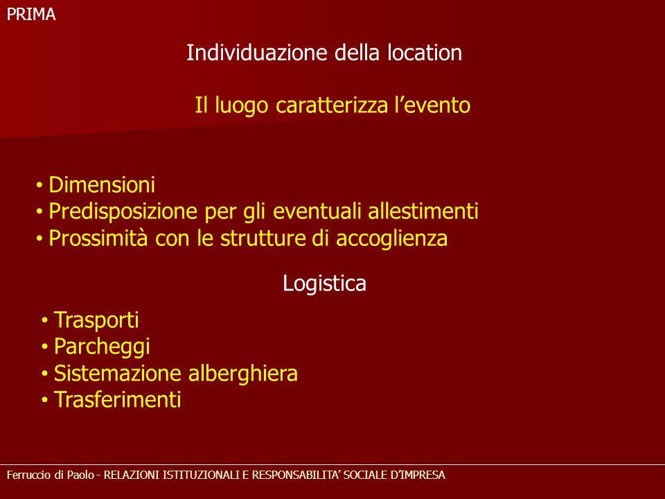Ferruccio di Paolo - RELAZIONI ISTITUZIONALI E RESPONSABILITA' SOCIALE D'IMPRESA Il luogo caratterizza l'evento Dimensioni Predisposizione per gli eve
