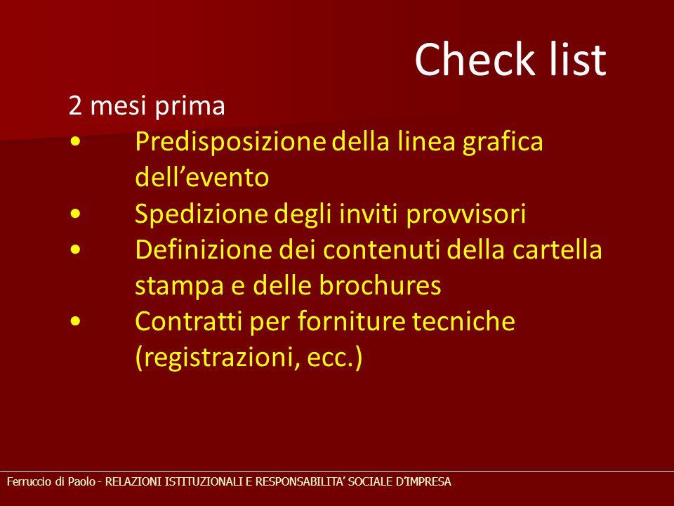 2 mesi prima Predisposizione della linea grafica dell'evento Spedizione degli inviti provvisori Definizione dei contenuti della cartella stampa e dell