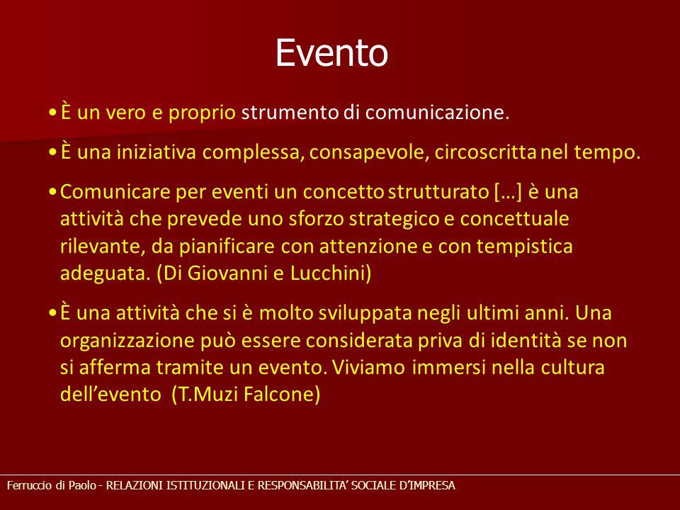 Evento È un vero e proprio strumento di comunicazione. È una iniziativa complessa, consapevole, circoscritta nel tempo. Comunicare per eventi un conce