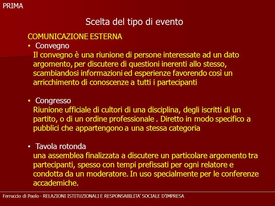 Ferruccio di Paolo - RELAZIONI ISTITUZIONALI E RESPONSABILITA' SOCIALE D'IMPRESA COMUNICAZIONE ESTERNA Convegno Il convegno è una riunione di persone