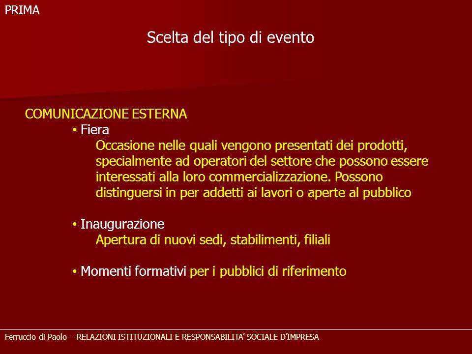 Ferruccio di Paolo - -RELAZIONI ISTITUZIONALI E RESPONSABILITA' SOCIALE D'IMPRESA COMUNICAZIONE ESTERNA Fiera Occasione nelle quali vengono presentati