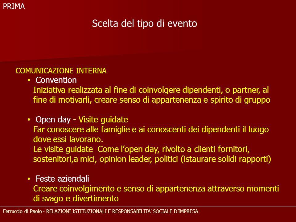 Ferruccio di Paolo - RELAZIONI ISTITUZIONALI E RESPONSABILITA' SOCIALE D'IMPRESA COMUNICAZIONE INTERNA Convention Iniziativa realizzata al fine di coi