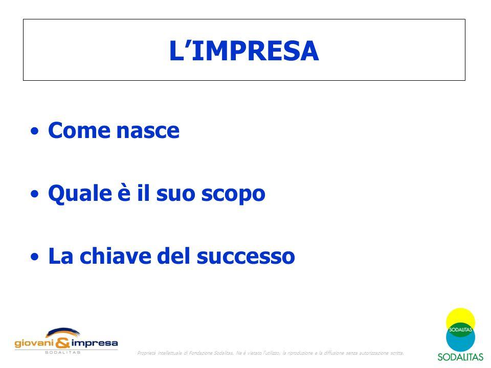 L'IMPRESA Come nasce Quale è il suo scopo La chiave del successo Proprietà intellettuale di Fondazione Sodalitas. Ne è vietato l'utilizzo, la riproduz