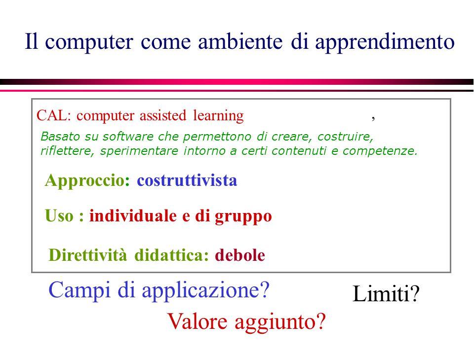 Il computer come ambiente di apprendimento CAL: computer assisted learning Basato su software che permettono di creare, costruire, riflettere, sperimentare intorno a certi contenuti e competenze., Campi di applicazione.