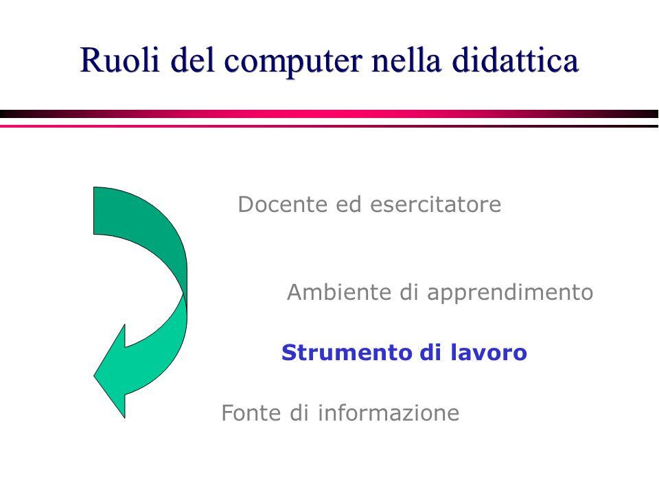 Docente ed esercitatore Ambiente di apprendimento Fonte di informazione Strumento di lavoro Ruoli del computer nella didattica