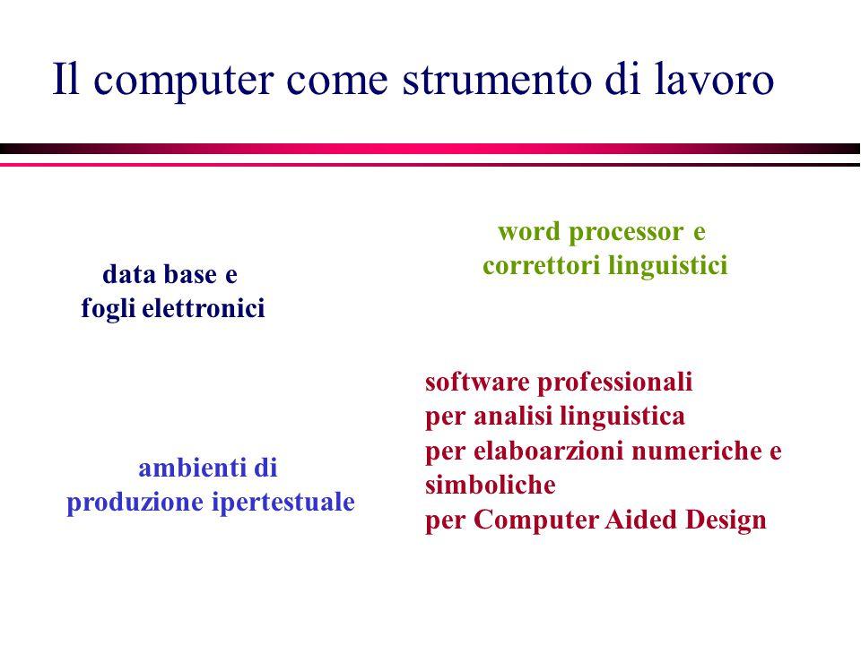 Il computer come strumento di lavoro data base e fogli elettronici ambienti di produzione ipertestuale software professionali per analisi linguistica per elaboarzioni numeriche e simboliche per Computer Aided Design word processor e correttori linguistici