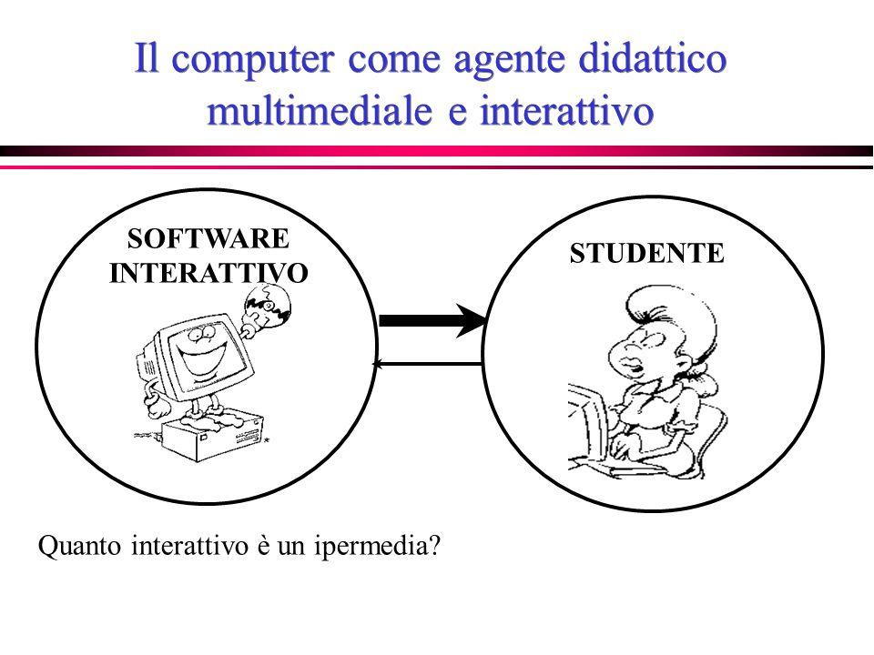 Il computer come agente didattico multimediale e interattivo STUDENTE SOFTWARE INTERATTIVO Quanto interattivo è un ipermedia