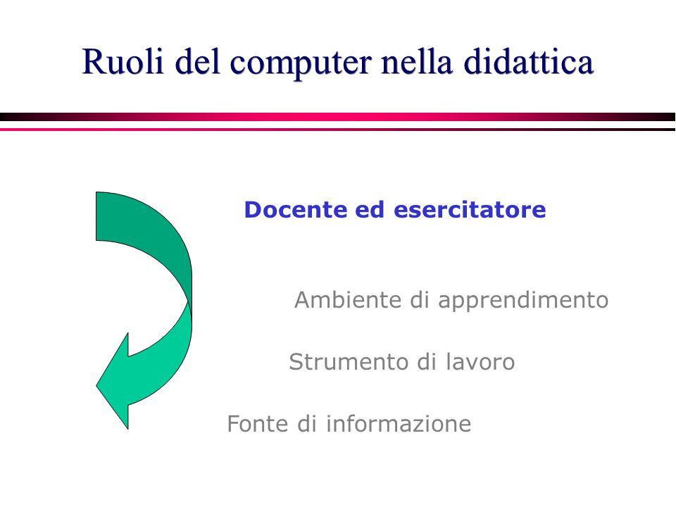 Il computer come docente-esercitatore CAI: Computer Assisted Instruction Approccio: comportamentista tutoriale Drill and practice Uso : individuale Campi di applicazione.