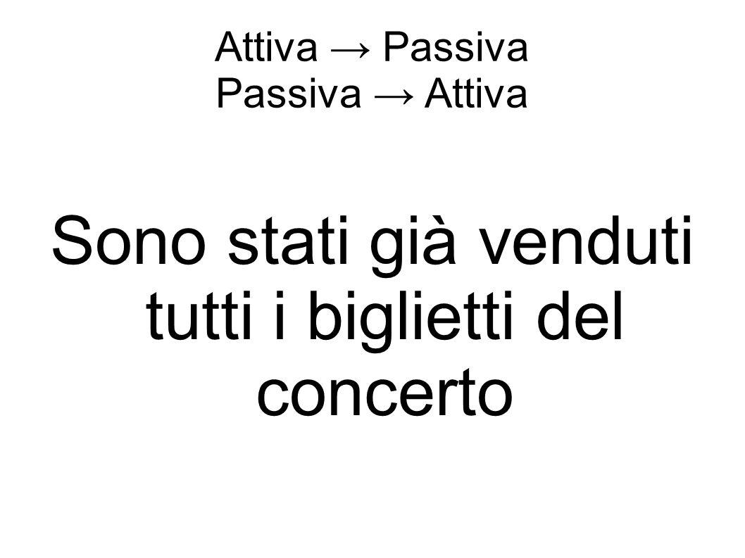 Attiva → Passiva Passiva → Attiva Sono stati già venduti tutti i biglietti del concerto