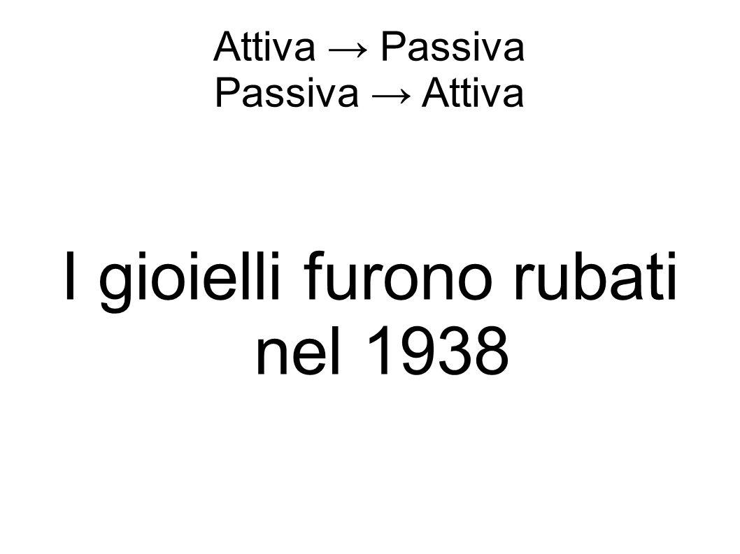 Attiva → Passiva Passiva → Attiva I gioielli furono rubati nel 1938