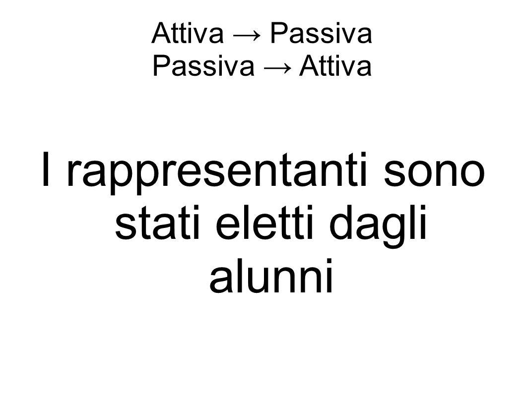 Attiva → Passiva Passiva → Attiva I rappresentanti sono stati eletti dagli alunni