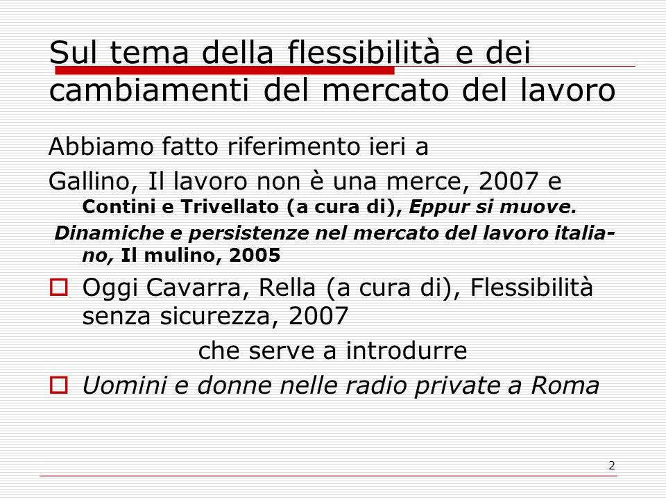 2 Sul tema della flessibilità e dei cambiamenti del mercato del lavoro Abbiamo fatto riferimento ieri a Gallino, Il lavoro non è una merce, 2007 e Contini e Trivellato (a cura di), Eppur si muove.