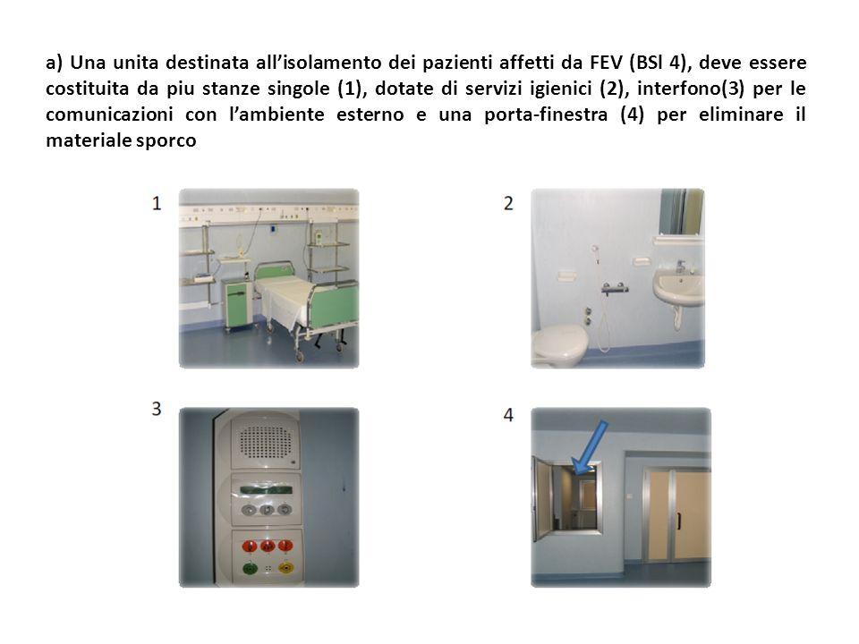 a) Una unita destinata all'isolamento dei pazienti affetti da FEV (BSl 4), deve essere costituita da piu stanze singole (1), dotate di servizi igienici (2), interfono(3) per le comunicazioni con l'ambiente esterno e una porta-finestra (4) per eliminare il materiale sporco