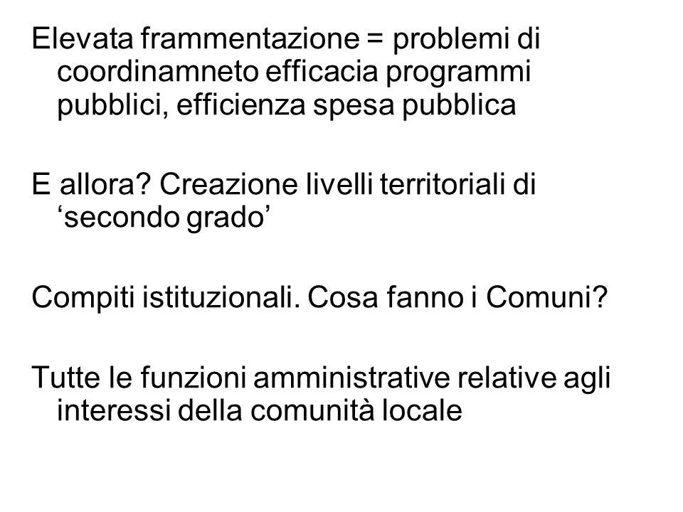 Elevata frammentazione = problemi di coordinamneto efficacia programmi pubblici, efficienza spesa pubblica E allora.