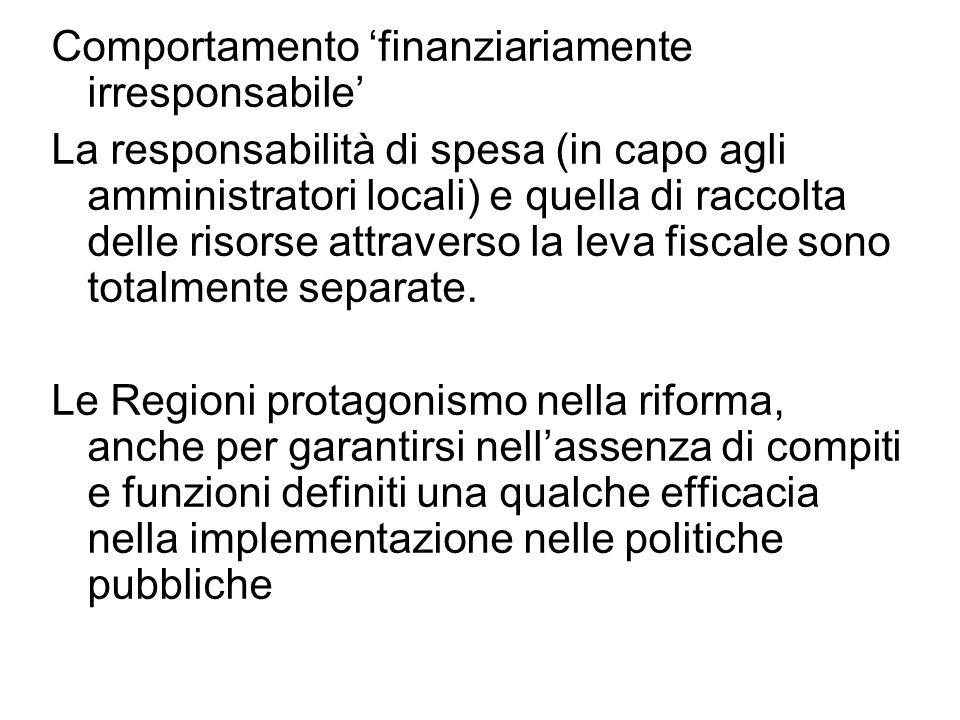 Comportamento 'finanziariamente irresponsabile' La responsabilità di spesa (in capo agli amministratori locali) e quella di raccolta delle risorse attraverso la leva fiscale sono totalmente separate.