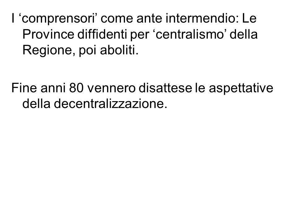 I 'comprensori' come ante intermendio: Le Province diffidenti per 'centralismo' della Regione, poi aboliti.