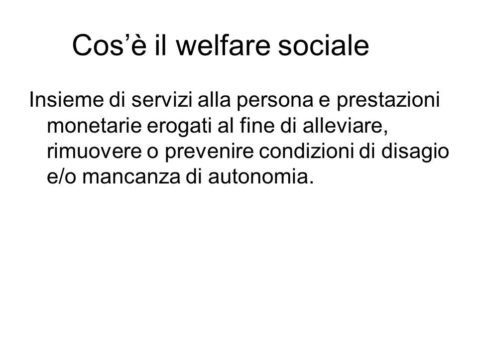 Cos'è il welfare sociale Insieme di servizi alla persona e prestazioni monetarie erogati al fine di alleviare, rimuovere o prevenire condizioni di dis