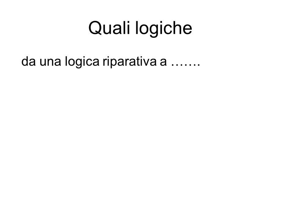 Quali logiche da una logica riparativa a …….