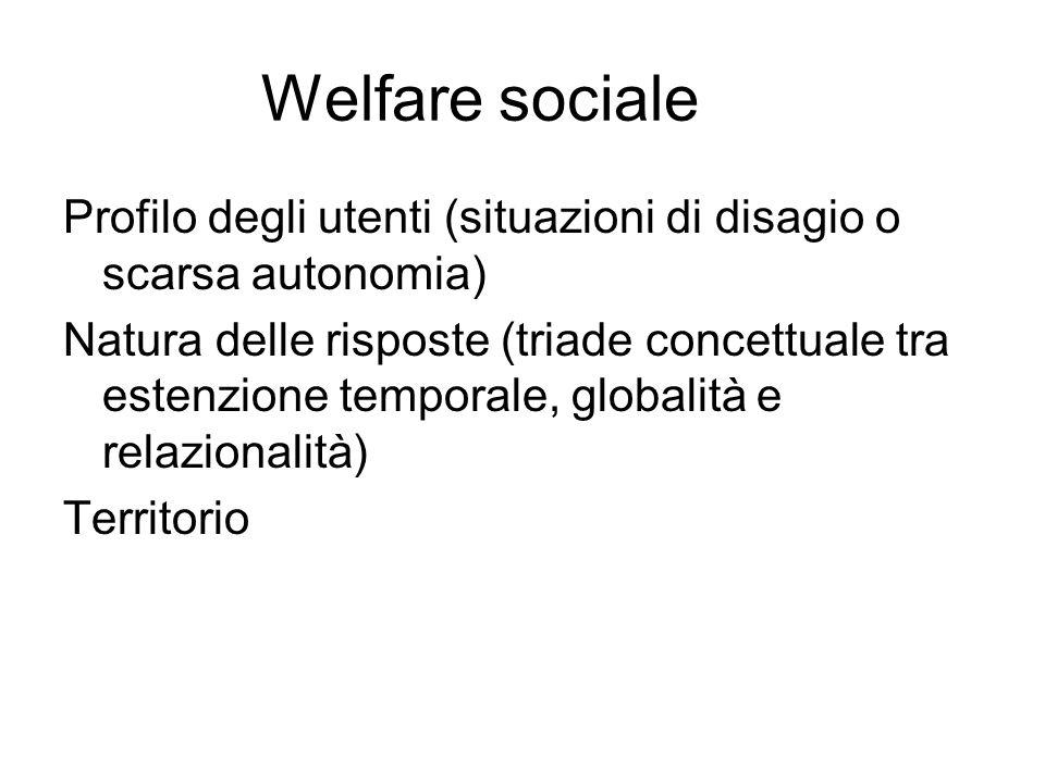 Welfare sociale Profilo degli utenti (situazioni di disagio o scarsa autonomia) Natura delle risposte (triade concettuale tra estenzione temporale, globalità e relazionalità) Territorio
