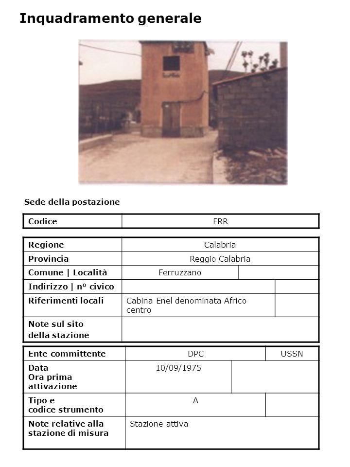 Sede della postazione CodiceFRR Ente committenteDPCUSSN Data Ora prima attivazione 10/09/1975 Tipo e codice strumento A Note relative alla stazione di