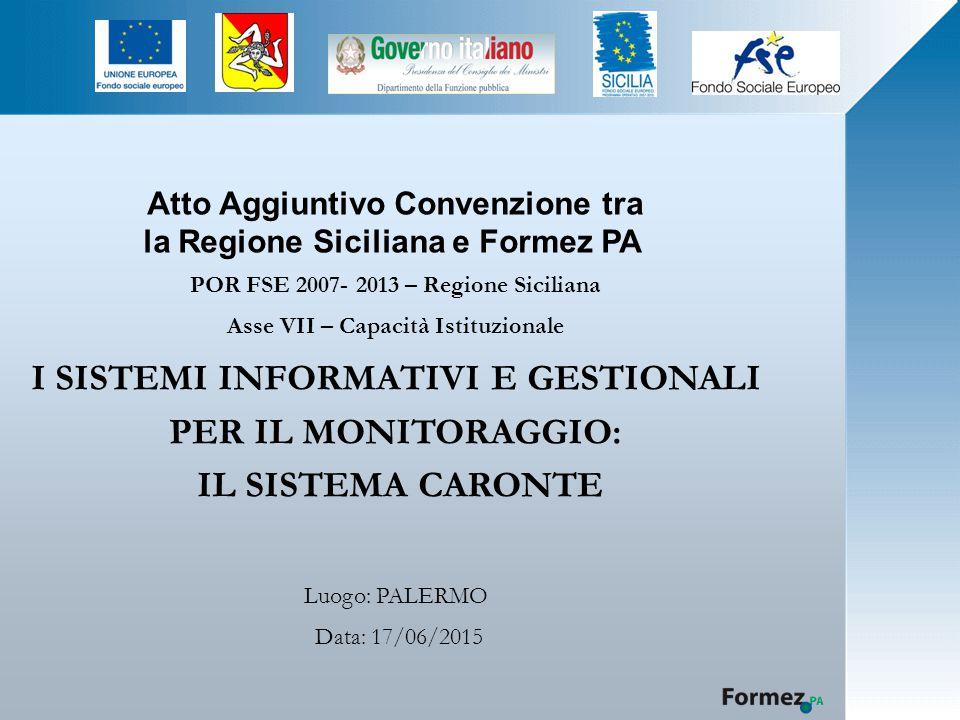 Atto Aggiuntivo Convenzione tra la Regione Siciliana e Formez PA POR FSE 2007- 2013 – Regione Siciliana Asse VII – Capacità Istituzionale I SISTEMI INFORMATIVI E GESTIONALI PER IL MONITORAGGIO: IL SISTEMA CARONTE Luogo: PALERMO Data: 17/06/2015