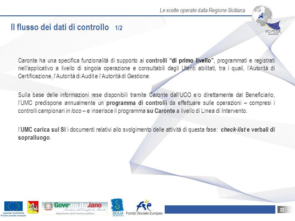 Le scelte operate dalla Regione Siciliana 22 Il flusso dei dati di controllo 1/2 Caronte ha una specifica funzionalità di supporto ai controlli di primo livello , programmati e registrati nell applicativo a livello di singola operazione e consultabili dagli Utenti abilitati, tra i quali, l'Autorità di Certificazione, l'Autorità di Audit e l'Autorità di Gestione.