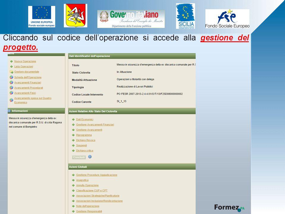 Cliccando sul codice dell'operazione si accede alla gestione del progetto.