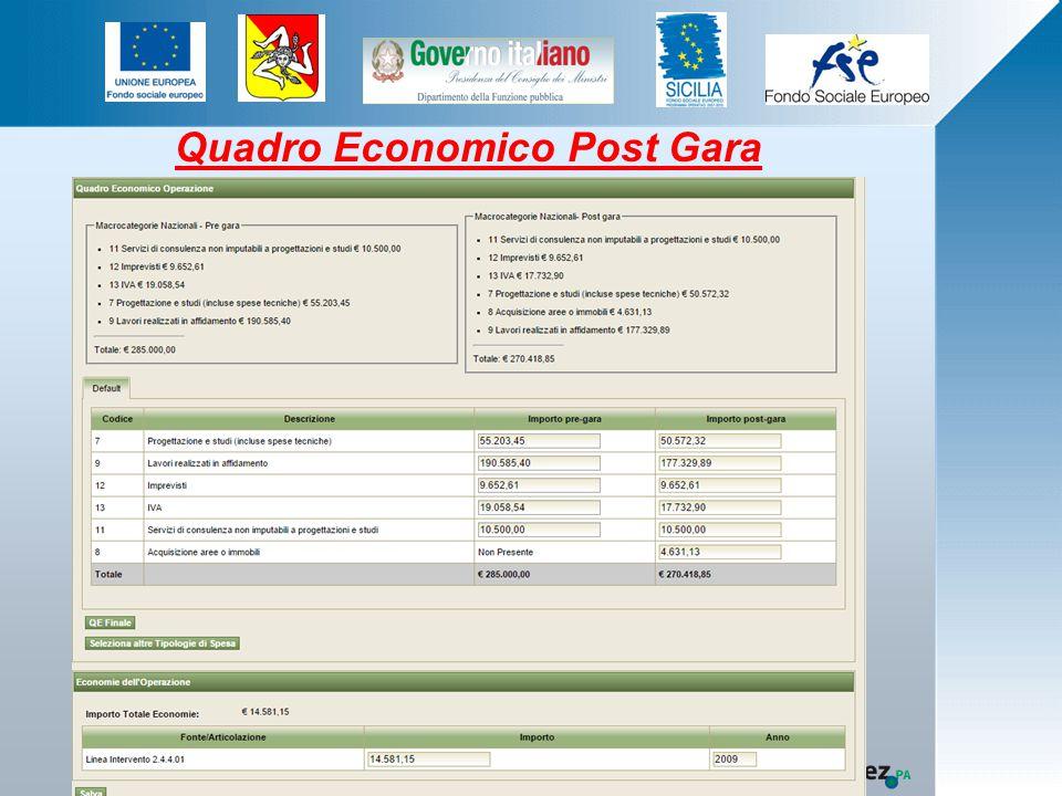 Quadro Economico Post Gara